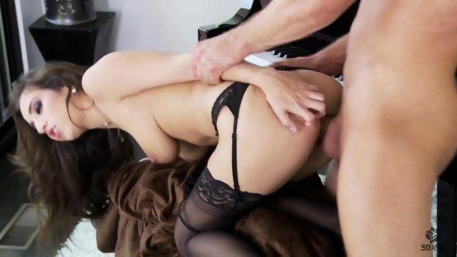 Секс урок с сочной телке в чулках